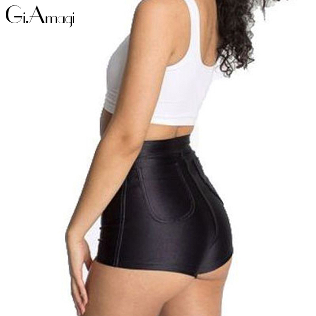 Тощие Женщины шорты 2017 новая мода Тонкий Эластичность Короткие Парня Модные Высокая Талия дискотека шорты # grp010