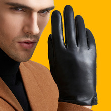 Genuine Leather Gloves Men's Winter Tounch Screen Sheepskin Gloves Warm Plus Velvet Driving Fashion Trend Free Shipping M9001 цена