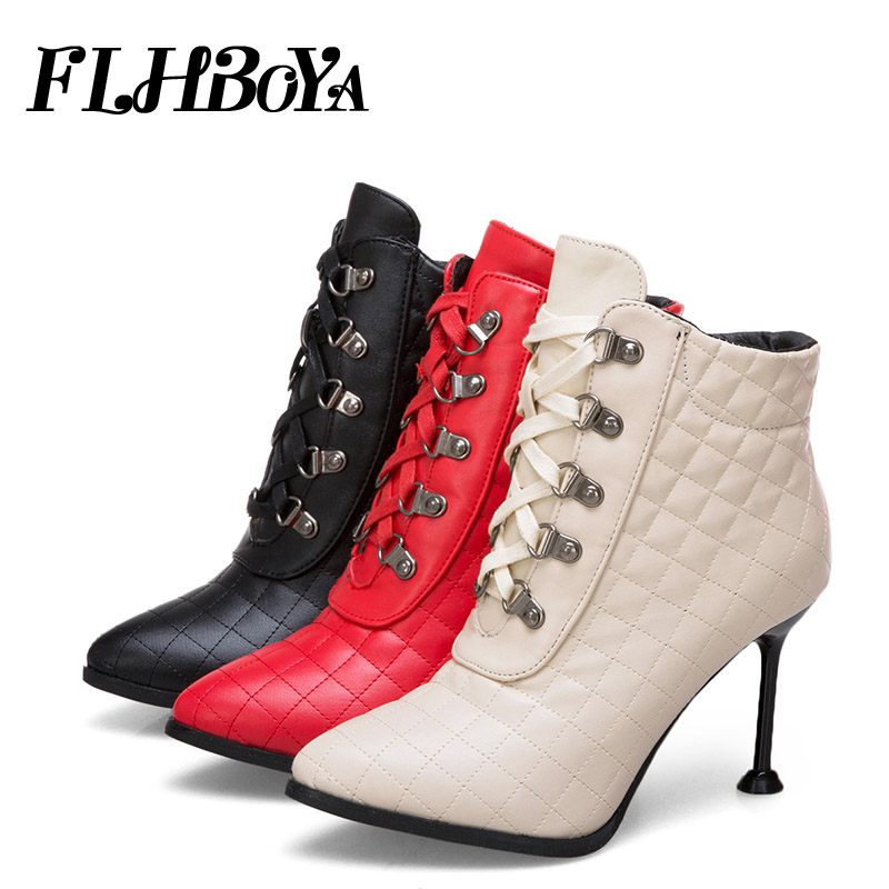 New Women Fashion Sexy Thin High Heels Pointed Toe Ankle Boots For Woman Lady Autumn Red Black Lace-up Sewing Femme Short Boots gaozze black sexy thin high heeled boots women side zipper fashion pointed toe shoes ankle boots for woman heels 2017 autumn