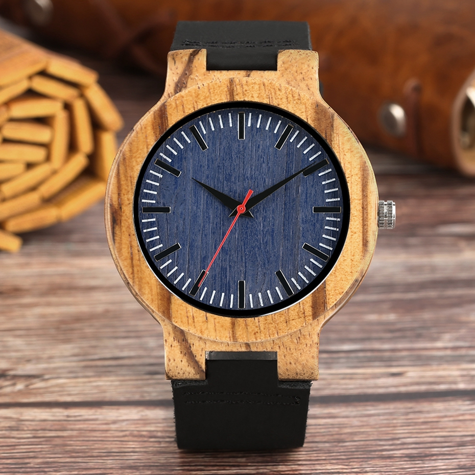 Retro Wood Watch Men Unique Navy Dial Bamboo Watches Black Leather Military Sports Clock Male Quartz Wrist Watch Reloj Hombre 2018 2019 (5)