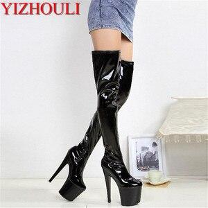 Nieuwe aankomst 2018 vrouwen schoenen dij hoge laarzen 20 cm stiletto laarzen sexy kachelpijp over-de-knie laarzen(China)