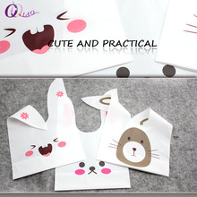 50pcs/set Plastic Cute Cartoon gift bag Kawaii Rabbit Ear Bag For wedding decoration, candy packing, Jewelry Packaging & Display