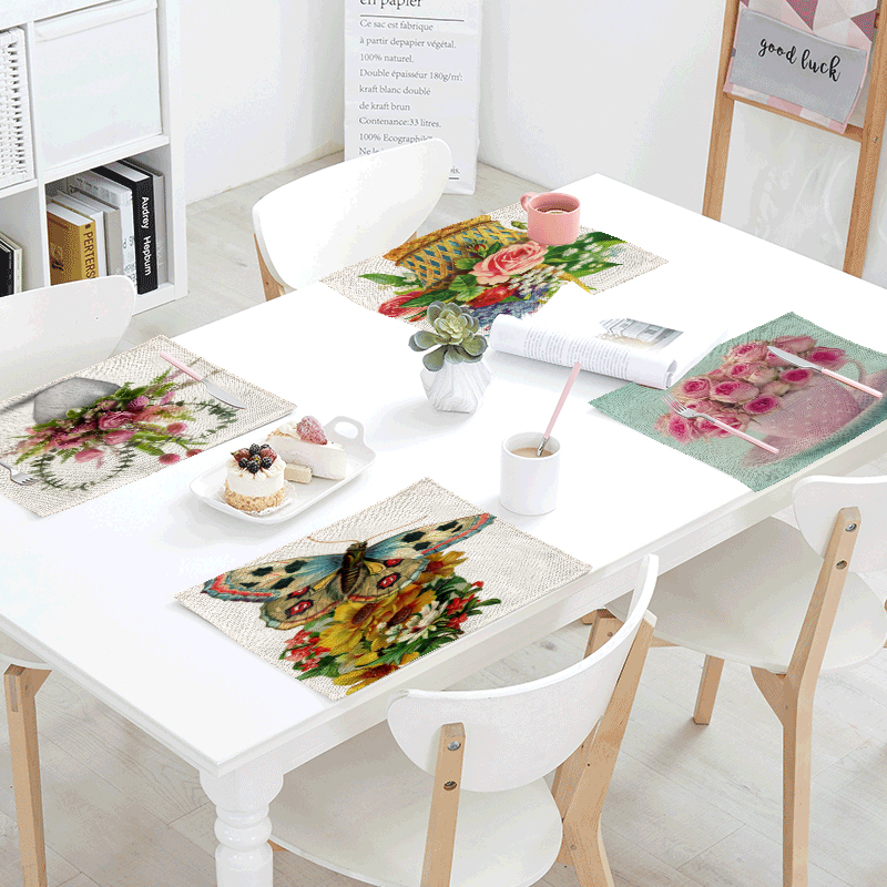 Colorful Pink Flower Printed Table Mat Table Napkin For Wedding Home Kitchen Decoration 42x32cm Table Placemat Dining Modern Art