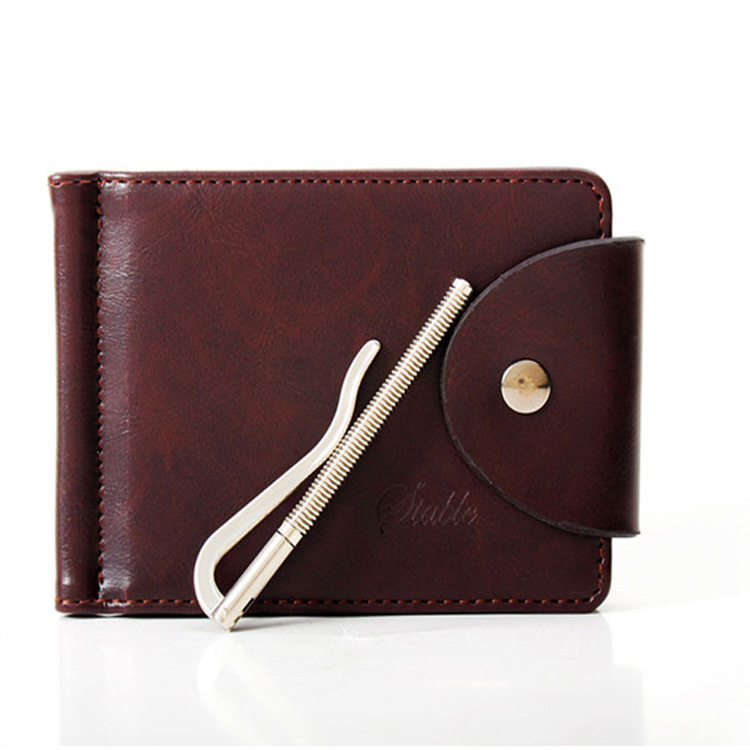 2016 New Men Leather Money Clip Black Hasp Genuine Leather Billfold Clamp For Money With Card Hold Luxury Men Purse