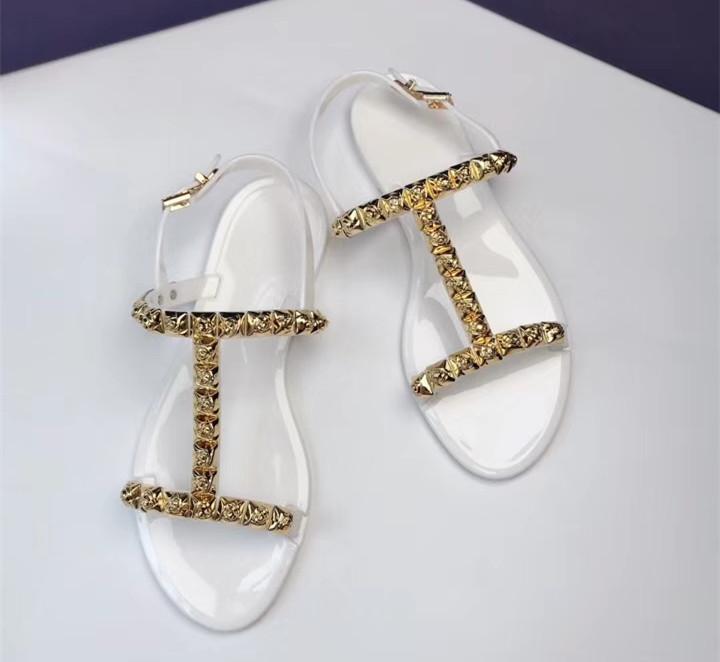 Модные летние босоножки; женские прозрачные сандалии со стразами; шикарная прозрачная обувь с Т образным ремешком; модная женская пляжная о... - 5
