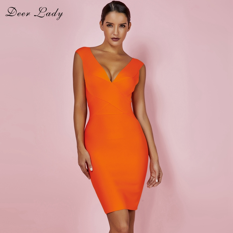 Deer Lady Sexy Summer Dresses 2019 Beach Club V Neck Bandage Dress Rayon Orange Cross Front Black Bodycon Dress Bandage Clubwear