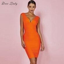 Deer Lady Y Summer Dresses 2018 Beach Club V Neck Bandage Dress Rayon Orange Cross Front