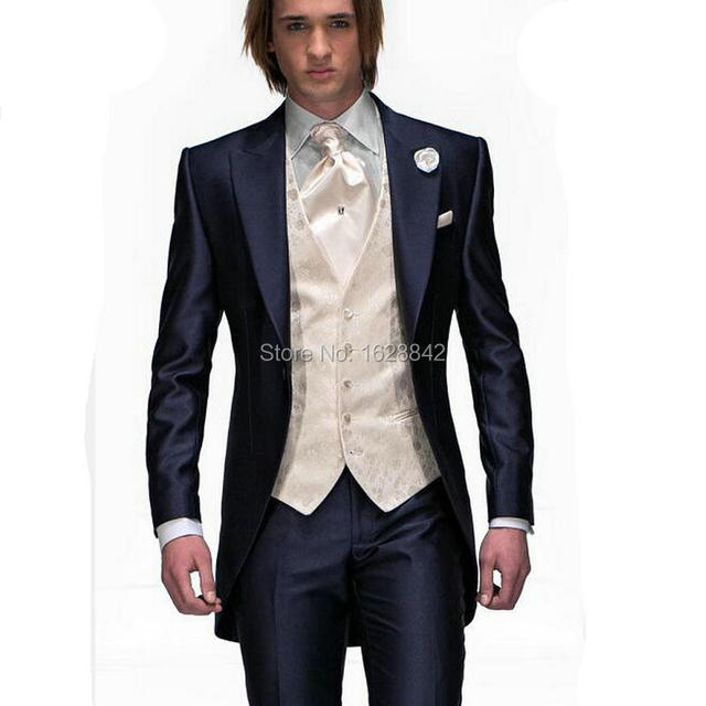 Luxury Groom Tuxedos Champagne Vest Wedding Suits For Men Custom Made Costume Homme One Button Tailor Made Plus Size Ternos