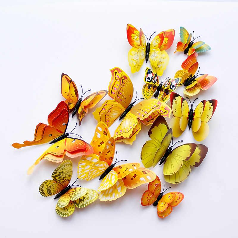 12 sztuk Multicolor dwuwarstwowe skrzydła 3D naklejka na ścianę z motylem magnes pcv motyle Party Kids sypialnia lodówka Decor magnetyczny