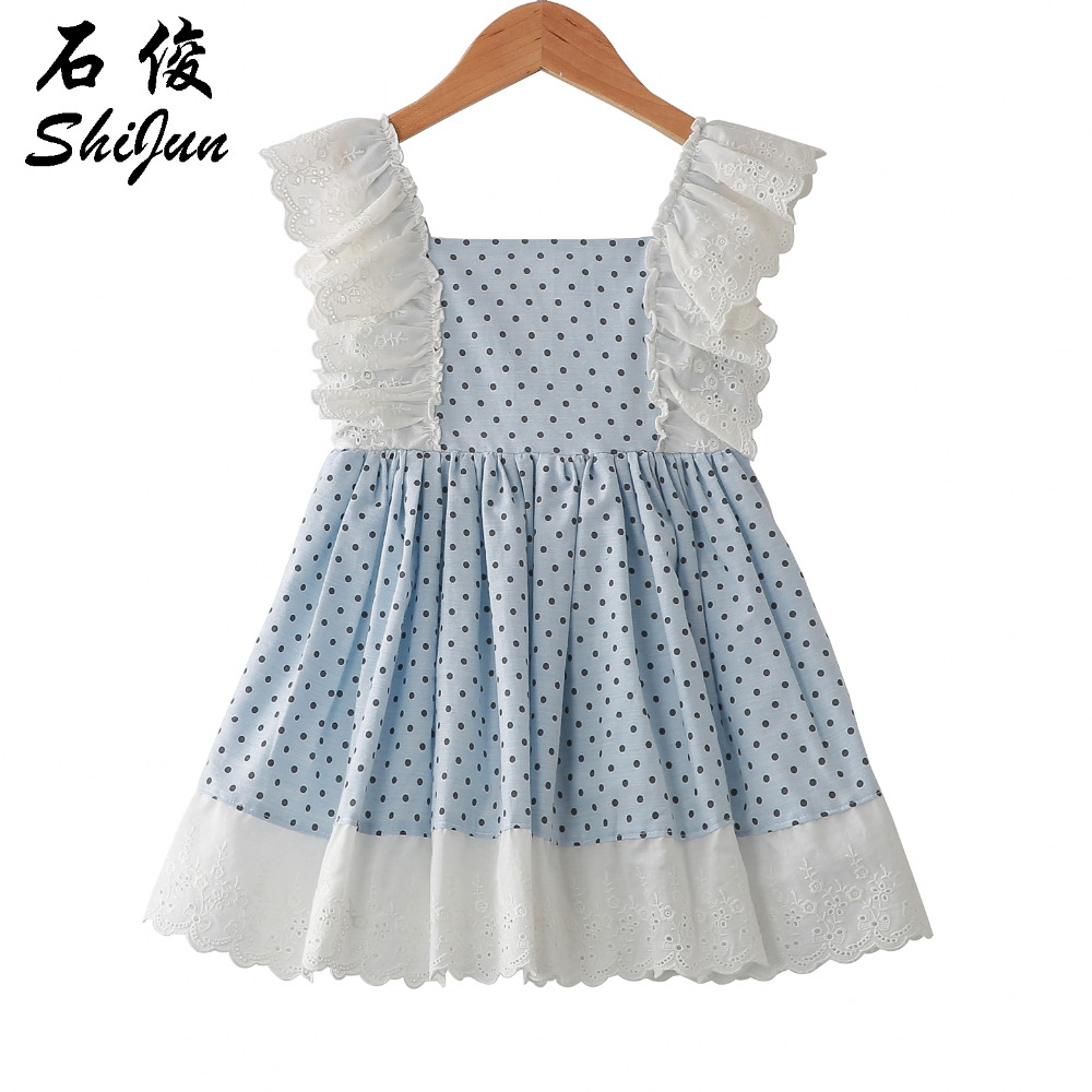 e900249804fc Detail Feedback Questions about Shijun 2019 Spain Design Polka Dot Vintage  Lace Ruffle Linen Little Girl Summer Dress on Aliexpress.com | alibaba group