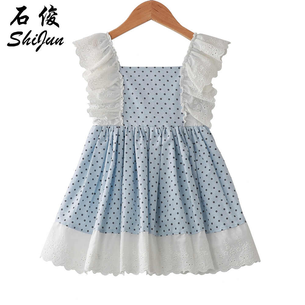 5a575a7b15 Shijun 2019 Spain Design Polka Dot Vintage Lace Ruffle Linen Little Girl  Summer Dress