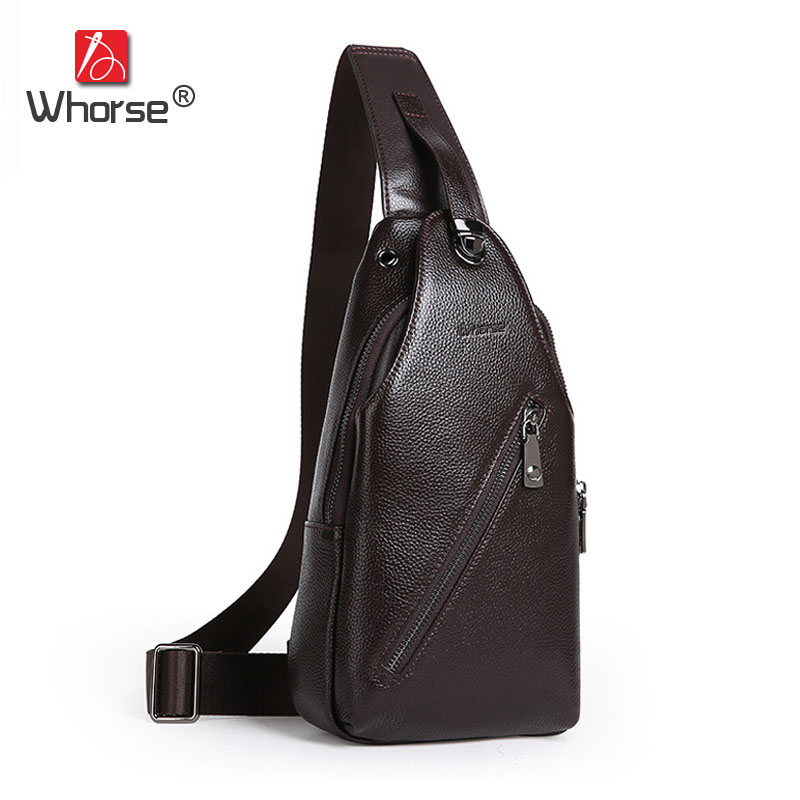 [WHORSE] Brand Genuine Leather Mens Sling Bag Casual Men Chest Pack Shoulder Messenger Bags for Man Coffee Black Blue W00290 kaka casual men s canvas sling bag for short trip messenger crossbody bag for boys large capacity chest bag for men