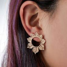 Women Big Openwork Hollow Flower Circle Ear Stud Earrings Jewelry Gift(China)