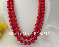 ddh0033 stunning long 50 14mm round natural red crude coral beads necklace 28% Discount