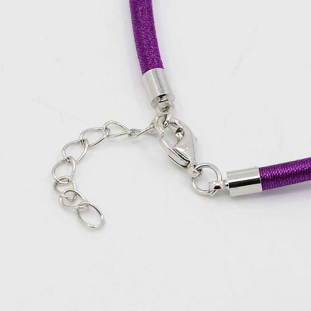 """100 Пряди шелковый шнур для Jwelry Цепочки и ожерелья решений с латунь омара застежками, платина, смешанные Цвет, 17 """"~ 18"""""""