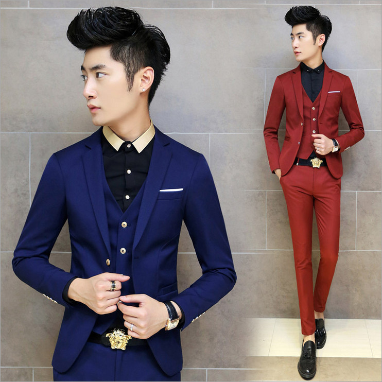 2018 Autumn Korean Slim mens blazers business and leisure solid color single row of two buckle small suit a variety of options