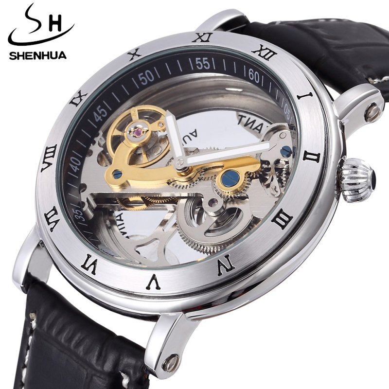 Top Luxury Brand hollow skeleton Automatic Mechanical watch men leather Stainless steel fashion Steampunk self wind