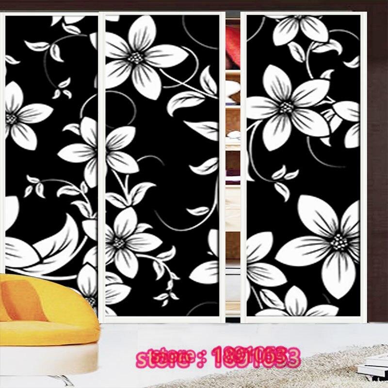 Black and white flower pattern opaque glass film <font><b>wardrobe</b></font> living room bathroom balcony windows and glass <font><b>sliding</b></font> door stickers
