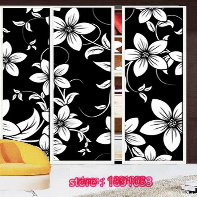 Zwart wit bloem patroon ondoorzichtige glas film garderobe ...