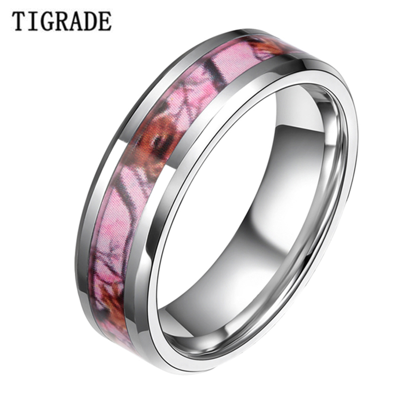 6mm 8mm pink tungsten carbide ring silver edge women men camouflage hunting camo sika deer head wedding band engagement jewelry - Cheap Camo Wedding Rings