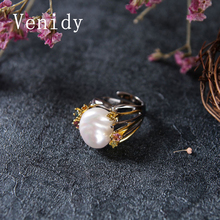 Venidy New Female Baroque Natural Pearl Ring Price Of Natural Pearls Fine Jewelry Vintage Wedding Rings For Women Birthday Stone