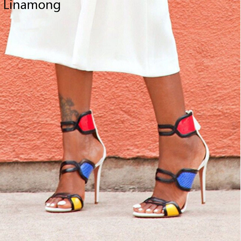 2017 Hot Sale Cover Heel Sandalias Mujer Melissa New Fashion Open Toe High Heel Gladiator Sandal Shoes Woman Multicolor Sandals miquinha red metal leaf decoration open toe mixed color cover heel women fashion thin heel super high casual sandalias mujer