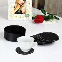 6pcs Leather Office Desk Round Coasters Set With Holder For Drinks Black