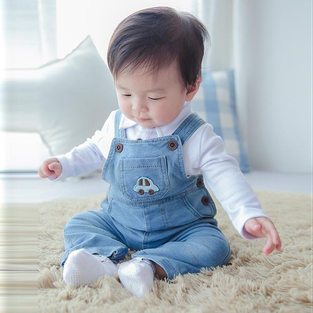 2015 Nova crianças bebê macacão primavera outono calças calças calças meninos meninas denim calças de brim bebe Sling Pant