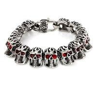 Versión coreana de los nuevos de acero inoxidable joyería personalidad de moda Red Eye Skull Bracelet joyería de acero de titanio joyas