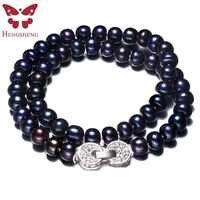 Frauen Natürliche Schwarz Süßwasser-zuchtperlen Schmuck Halskette, 925 Sterling Silber Halskette, 9-10mm Perlen Schmuck, Lebensbaum Schnalle
