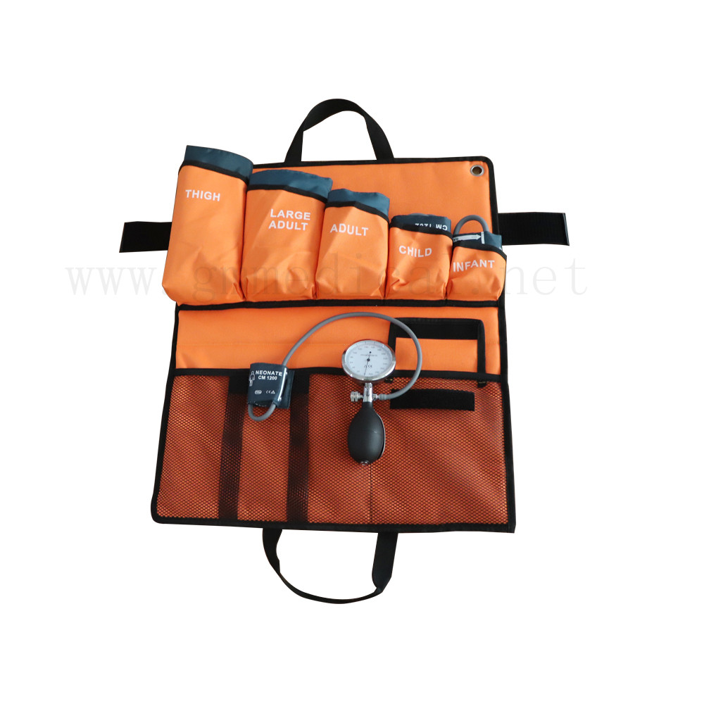 6sizes blood pressure cuff with pressure display gauge and pvc pressure bulb orange portable packed bag