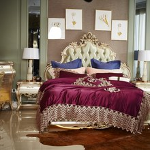 1000TC Satin Cotton Luxury Royal Purple Bedding Set Queen King Bed Sheet set Duvet Cover Fittet sheet parure de lit ropa de cama(China)