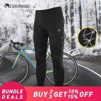 Santic Men Cycling MTB Pants Winter 4D Cushion Pad Reflective Pants Keep Warm Bike Pants Complete Winter Asian M 4XL K7MB018