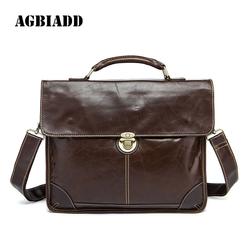 AGBIADD Genuine Leather Men Briefcase Men's Leather Briefcases Men Pasta Masculina Business Single Straps Work Bag 472 набор для кухни pasta grande 1126804