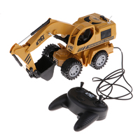 1:64 Diecast Garbage RC Truck Model Plastic with Movable Excavator for Kids Yellow