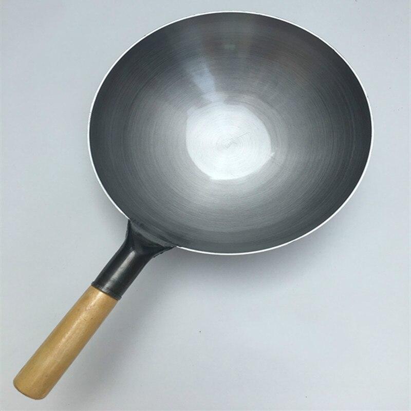 Pur Fer Pan Aucun Revêtement Non-bâton Wok Main Forger le Fer Pan Chinois Style Old Fashioned Fer Pot Seulement s'appliquent à Gaz Cuisinière
