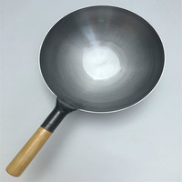 Pure Iron Pan No Coating Non stick Wok Hand Forging Iron Pan Chinese Style Old Fashioned Iron Pot Only Apply to Gas Cooker