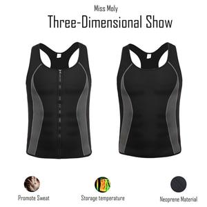 Image 4 - Mens Neoprene Workout Zipper No Zip Tank Tops Sweat Sauna Suits Waist Trainer Slimming Body Shaper Thermo Gym Vest Black