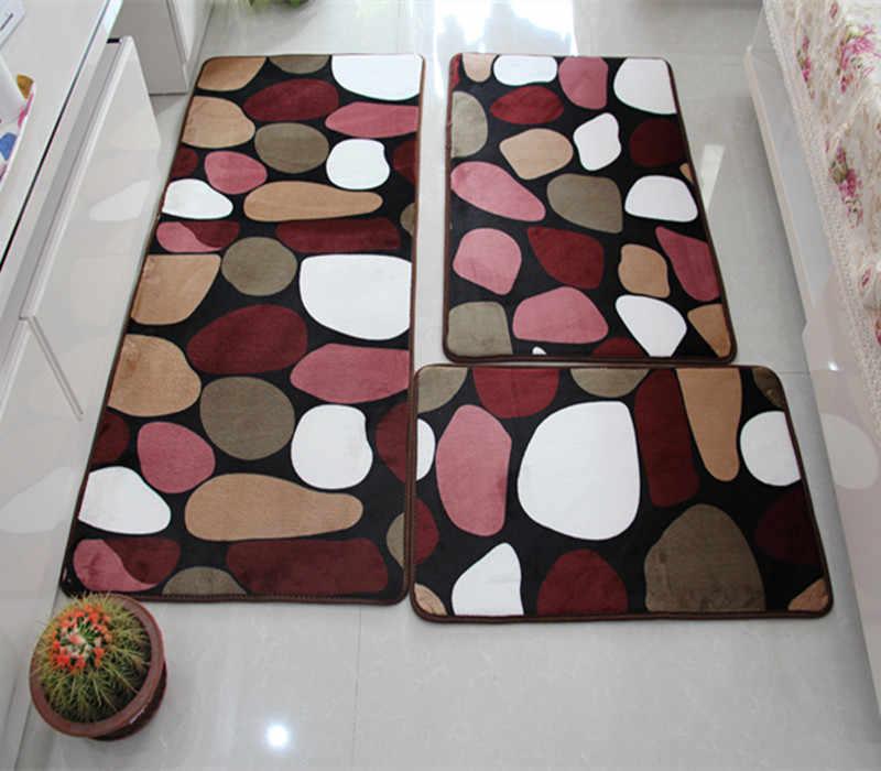 С цветочным принтом противоскользящие Ванная комната ковер коврики Pad 3 шт./компл. коврик для ванной для Кухня коврики Гостиная, tapis salle de bain