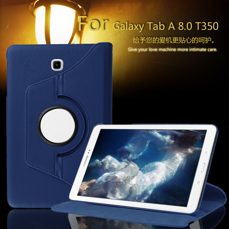 For Samsung Galaxy Tab A 8.0 T350 T351 T355 Case 360 Rotatable PU Leather Case Cover For Samsung P350 P355 8 inch Tablet +Film hh xw dazzle impact hybrid armor kickstand hard tpu pc back case for samsung galaxy tab a 8 0 inch p350 p355c t350 t355 sm t355