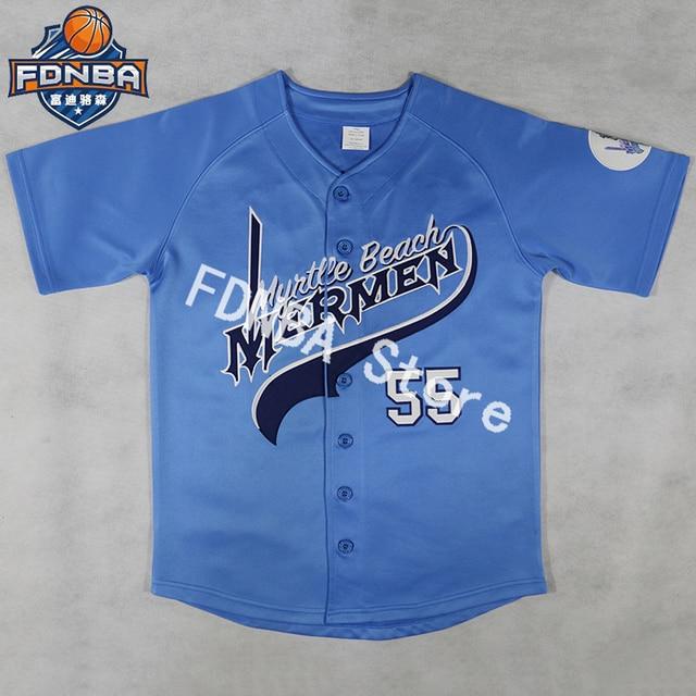 Kenny Powers  55 Jerseys Shirt Mexican Charros Atlanta New York Boston  Myrtle Beach Mermen All Stitched Men Blue Baseball Jersey cb9b054db73f
