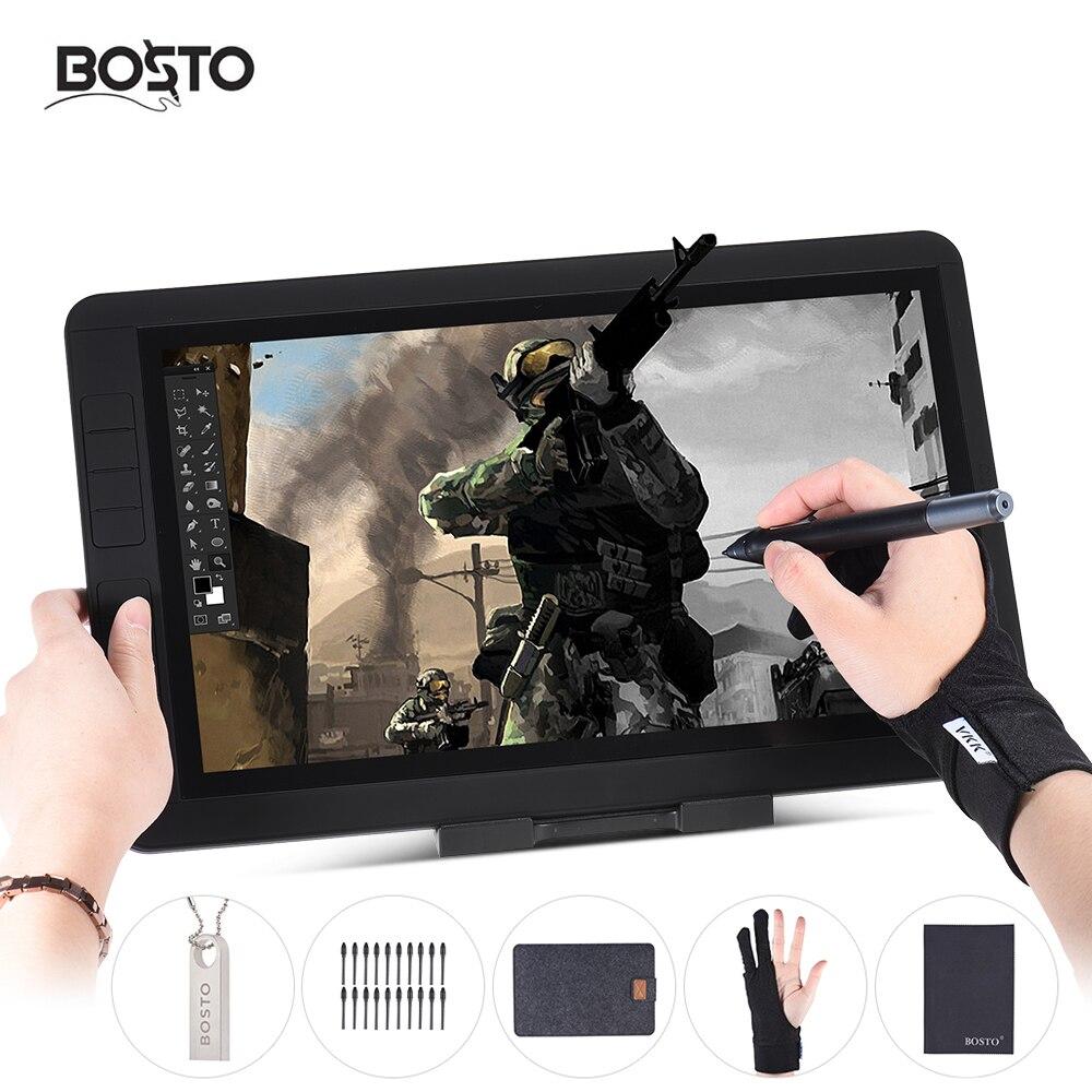 BOSTO 13 1080 P IPS Graphique Dessin Tablet Pour Peinture Conseil Kit 2048 Pression Niveau 8 Raccourcis pour tiroir Peintre apprenant