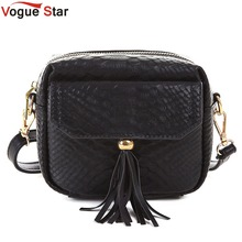 Vogue Star Simple Alligator Crocodile Leather Mini Small Women Crossbody bag Tassel Messenger Shoulder Bag Purse Handbag LA38