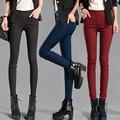 Новая Мода 2016 Весна и Осень Плюс Размер женщин Одежда 2XL Белый Карандаш Брюки Дамы Хлопок Высокой Талии Упругой брюки