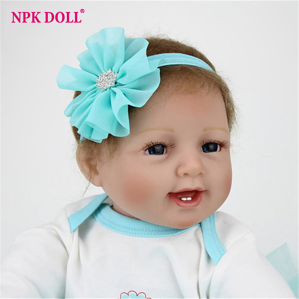 NPKDOLL 55 cm Alive Baby Girl Doll Reborn Silicone Vinly Bebe Dolls Blue Eyes Kids Birthday Gift Juguetes