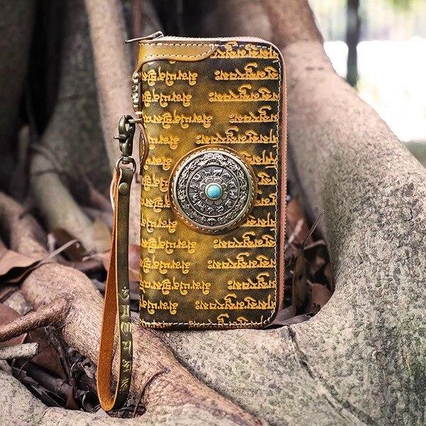 En Style Unisexe Pour Bracelets Hommes Vache Sac Véritable Bouddhisme Antique Noir Pochette Cuir Mâle orange Designer Long Porte cartes Bourse Tibétain w1AIqFI