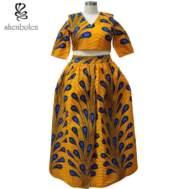 aa40c26d73 Lady formal clothes African fashion printed tops + skirt female classic  batik cotton v neck clothes