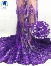 BEAUTIFICAL tela de encaje africano púrpura para vestido, cordón de red bordado con piedras, encaje de malla de tul francés NLF27