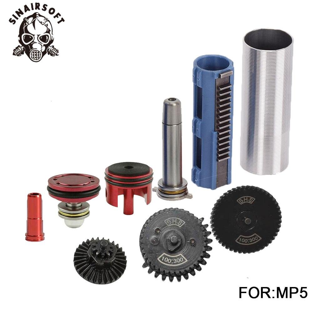 SHS 100:300 Kit de Piston de 14 dents de guidage de ressort de buse de vitesse pour Airsoft M4 MP5 AK G36 pour accessoires de chasse au Paintball