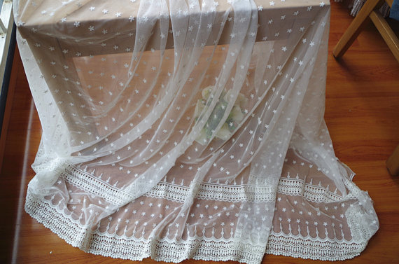 off white cotton embroidered lace fabric with daisy flowers, tulle lace fabric, mesh lace fabric